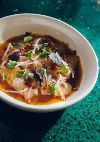 Sashimi of kingfish with yuzu kosho and shiso