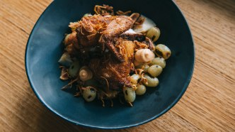 Thai spiced fried chicken with grilled celeriac and scorched grapes