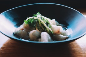 Sashimi of sea bream and young coconut nam jim